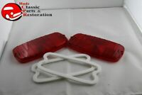GMC Fleetside Pickup Truck Rear Plain Red Tail Light Lamp Lenses Gaskets RH LH