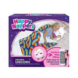 "Happy Nappers Pillow & Sleepy Sack Bag Pillow 54"" x 20"" Arianna Unicorn NIB"