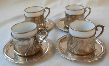 SET OF 4 SMALL MOKA  CUP HOLDERS & SAUCERS-- 800-835  GERMAN SILVER-- 195 grams