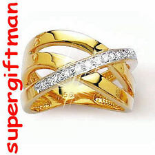 X020 - BAGUE OR DOUBLE AM. / ring goud  DIAMANTS CZ T64