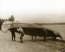 Giant Vintage Canoe Hudson Bay Fur Company Birch Bark Canoe Ojibwa Portaging WOW
