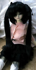 Doll Wig Long Pig Tails Black Miku BJD Ball Jointed Size 7, 8, 9, 10 NEW