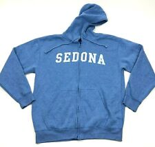 Sedona Arizona Sweater Hoodie Size Large L Adult Blue Full Zip Hooded Jacket Men