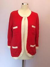 BNWT MARKS & SPENCER RED & WHITE TRIM  CARDIGAN SIZE 18 RRP £35