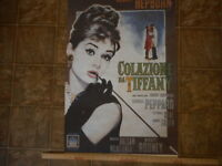 BREAKFAST AT TIFFANY'S Movie POSTER 23.5x36 Italian Audrey Hepburn preowned