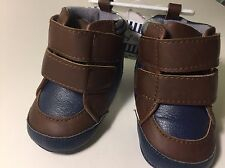 Baby Crib Nautical Strap Booties Plaid Navy Brown Slip On Shoes Dressy