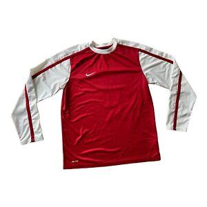 "NIKE Dri Fit Long Sleeve Training Top Mens Large L 21"" Red White Logo Running"