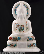 "12"" White Antique Marble Buddha Status Inlay Religious Collectible Gifts H2247"
