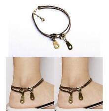 Unisex Punk Rock Zipper Shaped Alloy Anklet Bracelets Women Men Fashion Jewelry