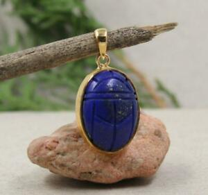 Lapis Lazuli Scarab Gold Plated Pendant Solid 925 Sterling Silver Jewelry