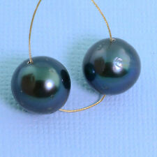 11.5mm Peacock Tahitian South Sea Round Pearl PAIR