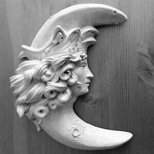 Handmade Folk Art Crescent Moon Goddess Ornate Wall Sculpture for Home, Garden