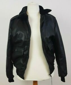 AC Made in Italy Mens Black Faux Leather Bomber Jacket with Fur Collar XL