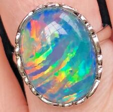 5c Natural Solid Australian Opal ladies Ring Black Navy Blue Red Spirit Fire 6 M
