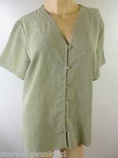 Ladies Green Embroidered Short Sleeved Work Shirt Blouse Top UK 16 EU 44