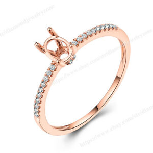 Engagement Solid 14k Rose Gold Ring Real Diamond Semi Mount Oval 3x5mm to 4x6mm