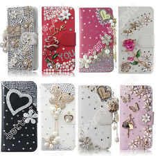 White Case Cover 3D Bling Crystal Rhinestone PU Flip Wallet Leather For Samsung