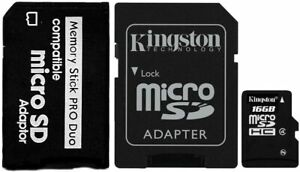 16GB Memory Card with MS PRO DUO Adapter For Sony Digital Camera, Video Games
