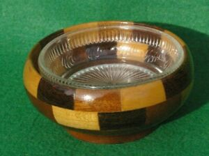 SMALL  TURNED CIRCULAR BOWL IN LAMINATED LIGHT AND DARK  HARDWOODS GLASS LINER