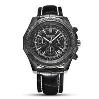 Men's Quartz Analog 3 sub-dials Watch Leather Band Black Multi-Function Dial