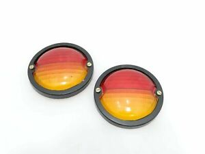 NEW MASSEY WILLYS JEEP REAR BRAKE TAIL LIGHT LENS PAIR PVC RED AMBER @JR