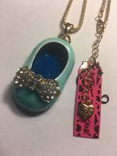 Betsey Johnson BLUE crystal bowknot shoes pendant Necklace-BJ39003