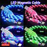 TOPK LED Flowing Light UP Magnetic Fast Charging Micro Type C iPhone Data Cable