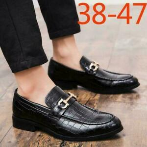 Mens Leather England Shoes British Dress Shoes Casual Slip On Loafers Shoes sz