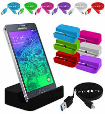 Micro USB Desktop Charging Dock Stand Charger & Flat Data Cable For Mobiles Sets