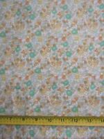100% Cotton Flannel Fabric Brushed Both Sides Green Orange Small Floral 1.75 YDS