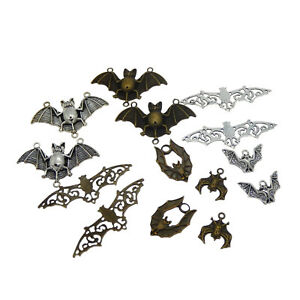 Pack of 14 Assorted Mix Bat Look Metal Charms Pendants Crafts Accessories