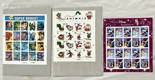 USPS 2  Disney Stamp Sheets, 2 Childen's Book Animals Sheets and 4 DC Super Hero
