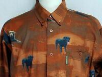Columbia PHG Mens sz L Brown Orange Dogs Ducks Button Long Sleeve Hunting Shirt