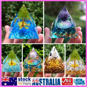Orgone Pyramid Amethyst Peridot Healing Crystal Energy Generator Yoga Tool