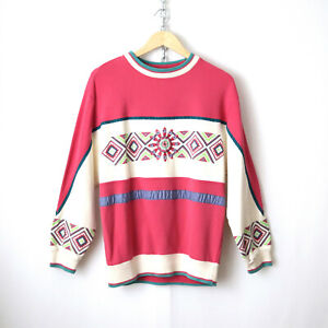 vintage 90s southwest aztec colorblock pullover sweatshirt M retro grunge vtg