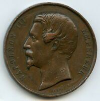 France Napoleon III Agricultural Copper Medal by Caque 50mm 63g