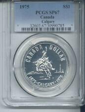 1975 CANADA CALGARY SILVER DOLLAR-PCGS SPECIAL PROOF 67 GRADE- WHITE COIN!