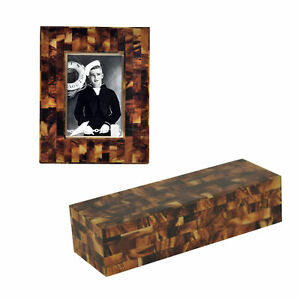 Faux Tortoise Shell Decorative Box and Frame Set 2 Mosaic Dark Brown Traditional