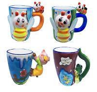 4 set Novelty Coffee Mugs Handmade - Various animals Bumble Bees, Pig, Alligator