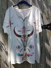 Cowgirl Gypsy LONGHORN bull skull bling Boho Aztec serape Top Tunic NWT ivory