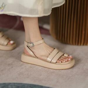 Women's 2021 Fashion Leather Thong Ankle Strap Platform Beach Sandals Shoes OCQK