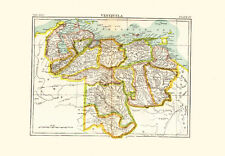 1896 Color Map of VENEZUELA - Provincial Structure
