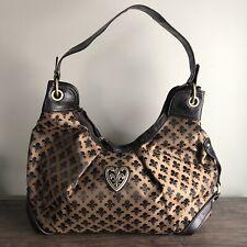 Fleur De Lis Handbag Shoulder Bag Dark Brown Print Purse