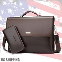 New Business Men's Leather Handbag Briefcase Bag Laptop Shoulder Bags