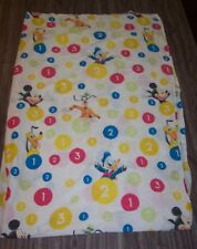 Walt Disney Mickey Mouse Pluto Donald Duck NUMBERS FLAT Twin Size Bed Sheet