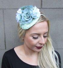 Light Mint Green Teardrop Rose Flower Fascinator Hair Band Headband Races 4837