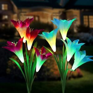 Solar Lights Outdoor, Tvird 2 Pack Solar Flower Lights with Multi-Color Changing