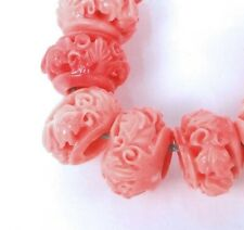10x6mm Pink Shell Carved Rondelle Beads (10)