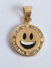 """Small Solid real 14k yellow gold emoji smilie happy face pendant charm .65"""" lng"""