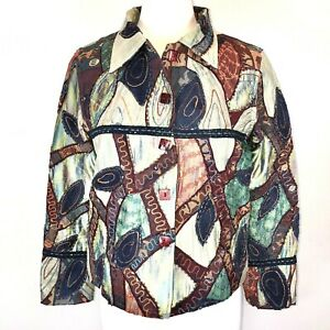 Vintage Abstract Jacket M Silk Rayon Embroidered Lace Beaded Sharon Anthony